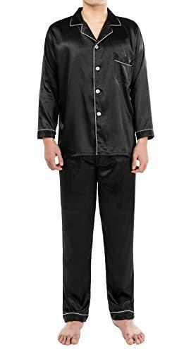 YIMANIE Mens Silk Satin Pajamas Set Classic Sleepwear Loungewear Black