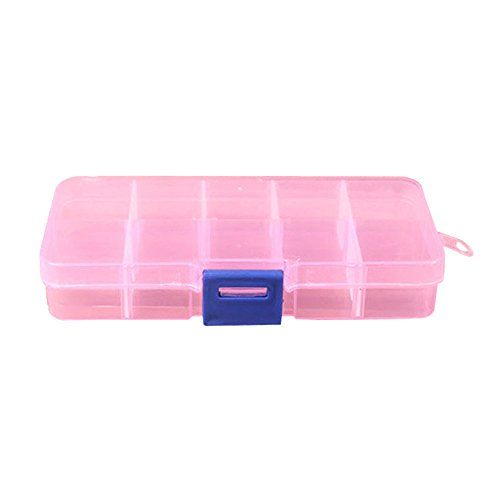 Fewear Jewelry Organizer Trays 10 Slot, 10 Grids Muti-Use Jewelry Storage Holder Display Case for Drawer or Dresser Set of Adjustable Jewelry Beads Pills Nail Art Storage Box Case (Pink) ()