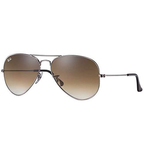 Ray-Ban RB3025 Aviator Sunglasses, Gunmetal/Brown Gradient, 62 mm