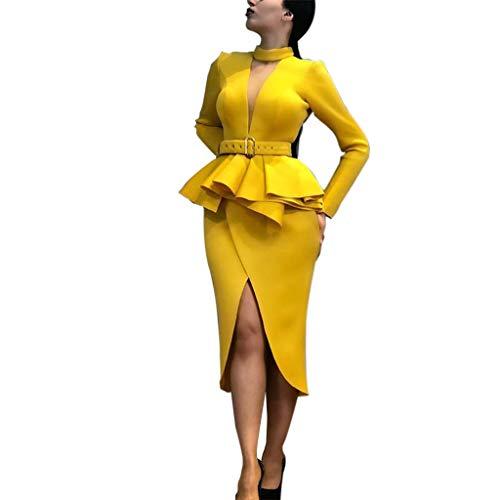 Nadition Lady Fashion Dress ❤️️ Women Vintage Cross V-Neck Hem Flare Belt Waist Bodycon Dress Asymmetrical Party Dresses Yellow