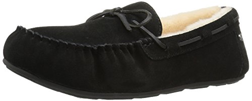 206 Collective Women's Pearson Shearling Moccasin Slipper, Black Suede, 5 B US