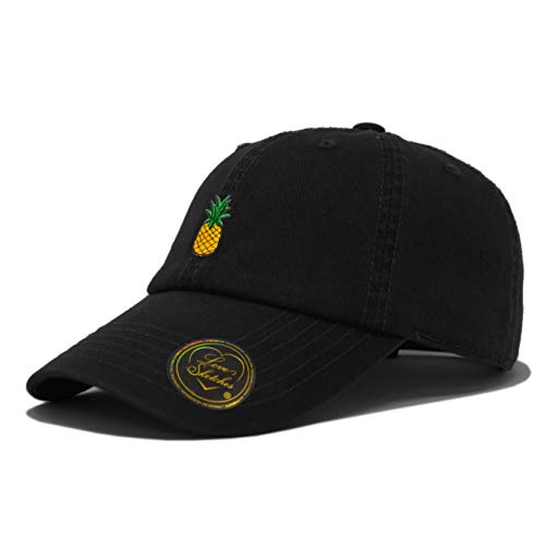 Love Sketches Pineapple Embroidered Classic Polo Style Baseball Cap Low Profile Dad Cap Hat (Black)