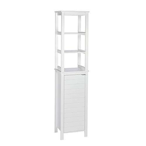 RiverRidge Home 06-108 Madison Collection Open Shelves-White Linen Tower,