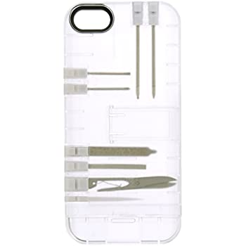 IN1 Multi Tool Case for iPhone SE - Retail Packaging - Clear with White tools