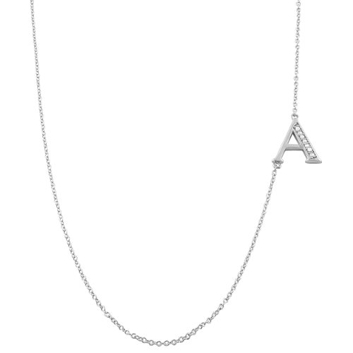 Kooljewelry Sterling Silver and Cubic Zirconia Sideways Initial Necklace (18 inch)