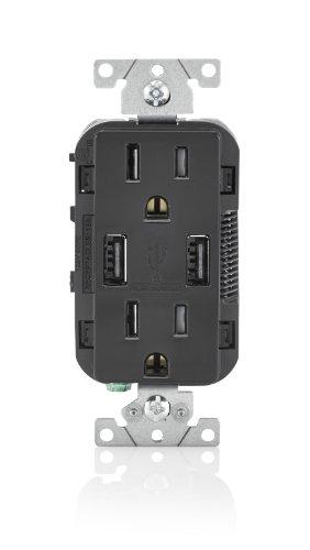 Leviton T5632-E 15-Amp USB Charger/Tamper Resistant Duplex Receptacle, Black