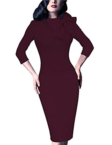 SALICO Women's 1950s Retro 3/4 Sleeve Bow Cocktail Party Evening Dress Work Pencil Dress (M, Wine red)