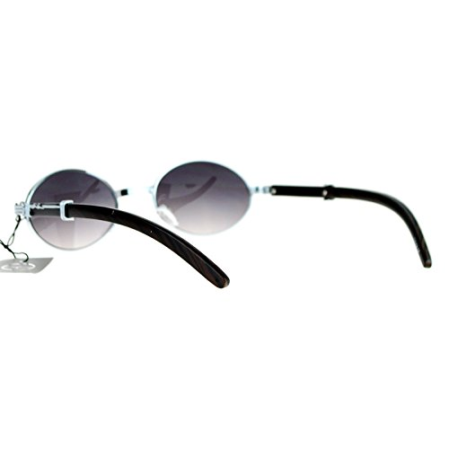 SA106 Retro Art Nouveau Vintage Style Small Oval Metal Frame Sunglasses Silver Smoke