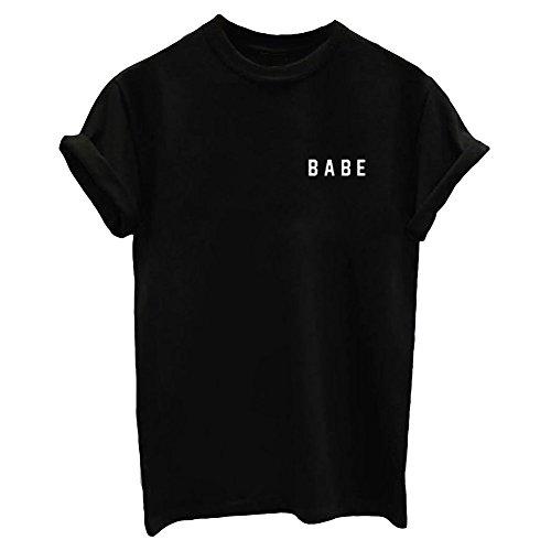 YITAN+Letter+Funny+O+Neck+Women+T+Shirts+Top+Black+Medium