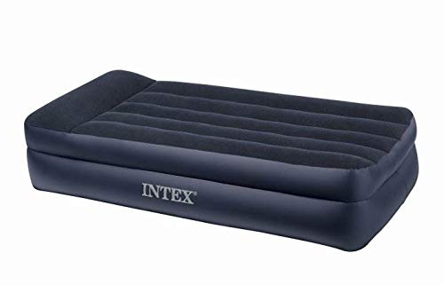 Intex Pillow Rest Raised Airbed with Built-in Pillow and Electric Pump, Twin, Bed Height 16.5'