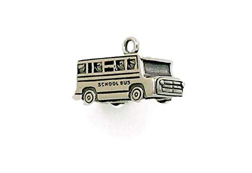 Pendant Jewelry Making/Chain Pendant/Bracelet Pendant Sterling Silver 3-D School Bus Charm
