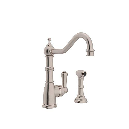 (Rohl U.4746STN-2 Perrin and Rowe Single Hole Single Lever Aquitaine Kitchen Faucet with Sidespray Rinse in Satin Nickel)