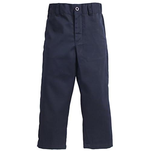 new Sportoli Boys Flat Front Adjustable Waist Twill Chino Long Uniform Dress Pants get discount