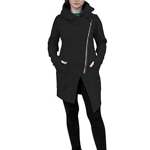 - Fun1980s Women's Long Sleeve Zipper Silm Casual Irregular Sweatshirt Hoodie Coat Long Warm Coat Wool Jacket Windbreaker