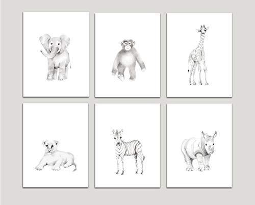Safari Nursery Art, Set of 6 Prints, Pencil Drawing Prints, Elephant, Giraffe, Monkey, Lion, Zebra, Rhino, Various Sizes Available, Unframed Prints