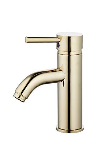 - Derengge F-509-PB Single Handle Lavatory Sink Faucet, cUPC NSF AB1953 Lead Free, Polished Brass