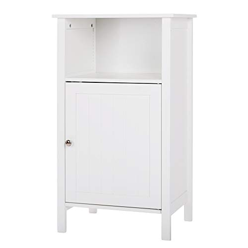 Chest White Tv (MOONBUY Bathroom Floor Cabinet,Wooden Side Storage Organizer Storage for Homes Gardens Office Furniture with 4 Types White (White-4))