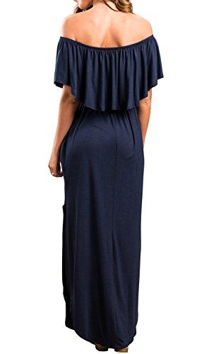 I2CRAZY Women Loose Fit Side Split Off The Shoulder Party Dress with Pockets(Size-L,NavyBlue) by I2CRAZY (Image #2)