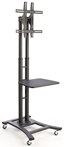 Displays2go TV Stand with Shelf, Holds 32 to 70 Inch Flat Screen Monitor, Height Adjustable and Tilting - Black (MBTVSBK2SS)