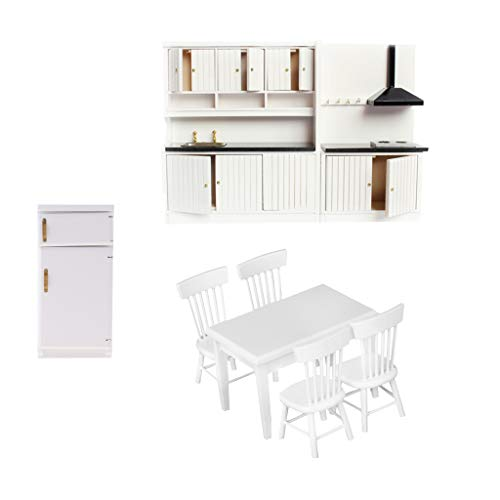 (Fenteer 1/12scale Dollhouse Miniature Kitchen Furniture Set Fridge Refrigerator Table 4pcs Chair Models White)