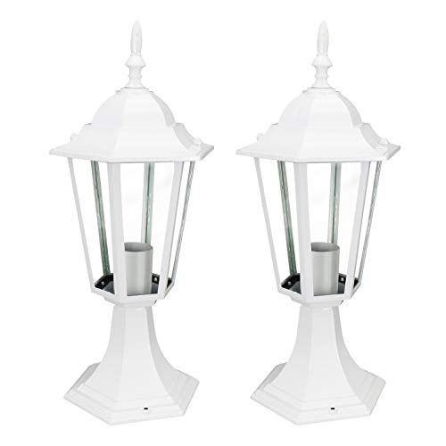 IN HOME 1-Light Outdoor Garden Post Lantern L01 Lighting Fixture, Traditional Post Lamp Patio with One E26 Base, Water-proof, White Cast Aluminum Housing, Clear Glass Panels, (2 Pack) ETL Listed