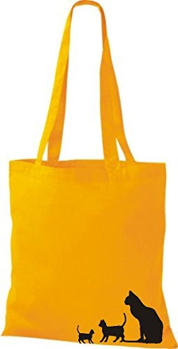 ShirtInStyle Bolsa de tela Bolsa de algodón divertida Animales Gato amarillo dorado