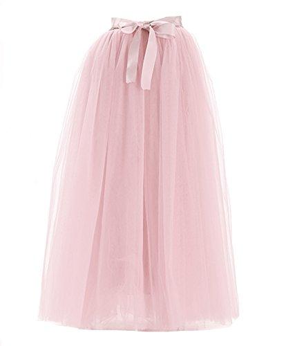 Facent Femmes 100cm 7 Couches Longueur au sol Tutu Tulle Jupons Rose Poudr