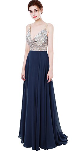 MEILISAY Meilishuo Women's Jewelry Deep V-Neck Beaded Chiffon Prom Dress Long Evening...