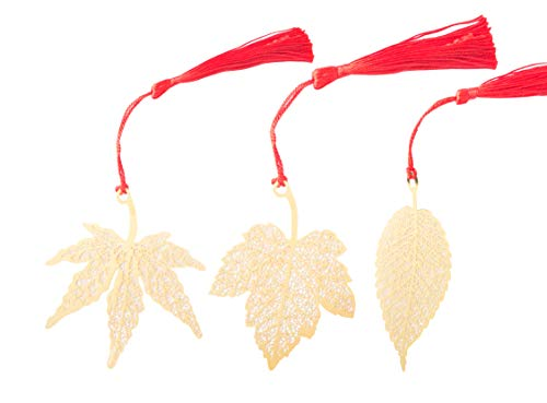 WONBSDOM Metal Maple Leaf Bookmarks 3 Pcs Chromatic Color Golden Hollow with Red Chinese's Knotting Strap,Ideal Gift for Friends and Family