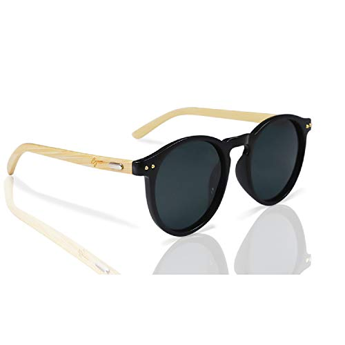 Bamboo Sunglasses by Reys: Round Frame Polarized UV Lenses with Wooden ()