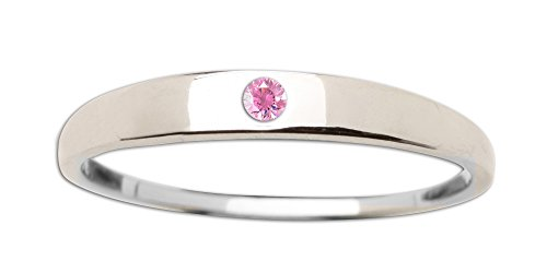 (Sterling Silver Baby Ring with Pink Sapphire in Classic Dainty Band)