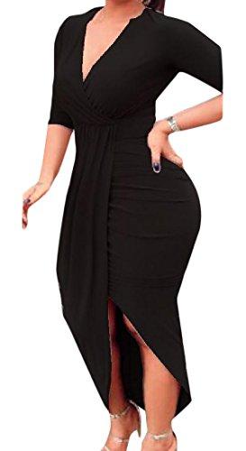 Women Clubwear Hem V High Low Cocktail Black Dress Comfy Solid neck Deep fxCqTndRw
