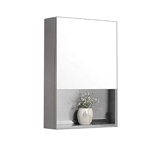 HDGZ Modern Minimalist Bathroom Double Thick Stainless Steel Mirror Cabinet Wall-Mounted Toilet -