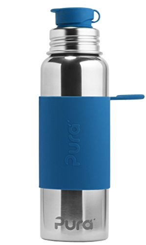 Pura 28 OZ / 850 ML Stainless Steel Water Bottle with Silicone Sport Flip Cap & Sleeve, Steel Blue (Plastic Free, Nontoxic Certified, BPA Free)