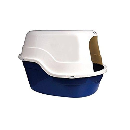 Bandeja higiénica cubierta para gatos Nobleza, color azul, largo 65 cm y alto 43 cm