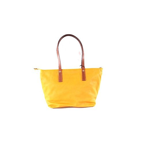 Borsa The Bridge modello shopper in pelle con riporti cuoio Giallo