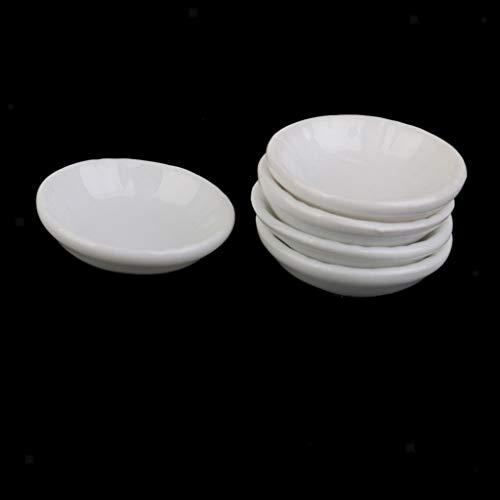 NATFUR 1:12 Dollhouse Miniature Kitchen Dec Supply 5pcs White Ceramic Dishes Plates
