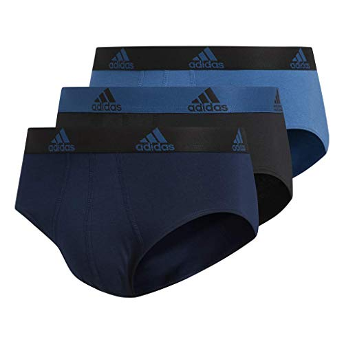 (adidas Men's Stretch Cotton Briefs Underwear (3-Pack), Collegiate Navy/Black Black/Core Blue Core Blue/Blue, Large)