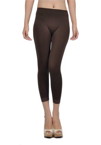 Emma's Mode Junior Capri Length Lace Trim Leggings SS-27L-Brown