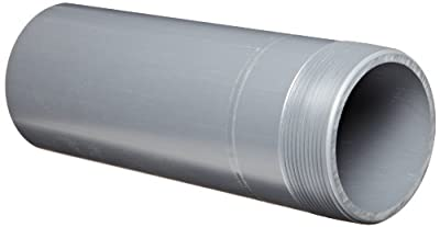"Spears 188N Series PVC Pipe Fitting, Nipple, Thread on One End, Schedule 80, Gray, 2"" NPT Male x Socket, 12"" Length"