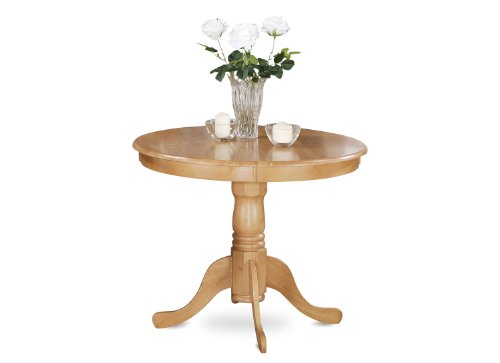 East West Furniture ANT-OAK-T Round Table, 36-Inch, Oak Finish (With Chairs Nook Breakfast)