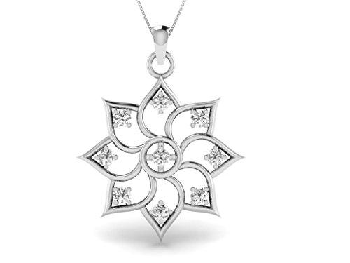 Or Blanc 14 ct Pendentifs Diamant en forme de Fleur, 0.114 ct Diamant, GH-SI, 1.19 grammes.