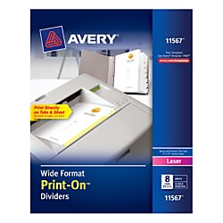 Avery Wide Format Print-On Dividers, White, 8 Tabs, 25 Sets (11567)