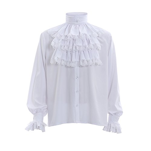 1791's lady Men's Victorian Gothic Steampunk Blouse Shirts Long Sleeve Shirts for Halloween White-M