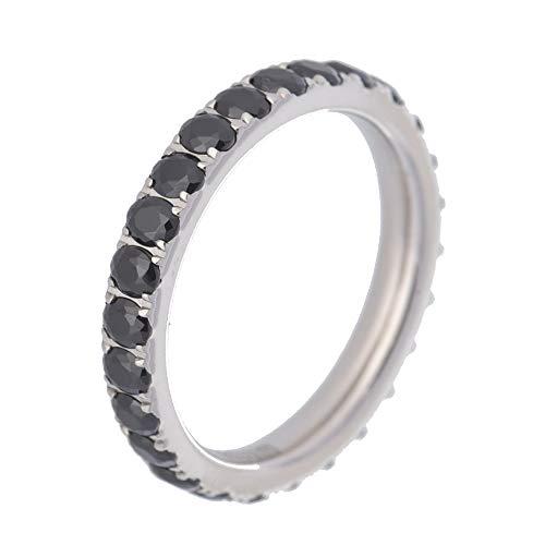 FlameReflection Womens Titanium Eternity Ring Wedding Band Black Cubic Zirconia Round SPJ