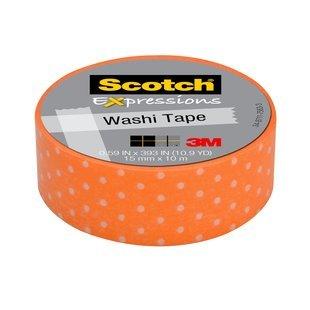 Scotch Expressions Washi Tape Orange Swiss Dot 5//8 x 393