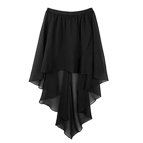 ranrann Womens Adult Sheer Chiffon Side-Dip Asymmetrical High-Low Ballet Dance Tutu Warp Skirt Dancewear Black One_Size