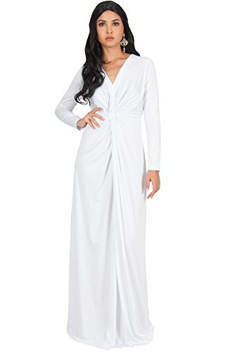 KOH KOH Plus Size Womens Plus Size Womens Long Sleeve Sleeves V-Neck Flowy Cocktail Formal Fall Winter Evening Abaya Muslim Gown Gowns Maxi Dress Dresses, White XL 14-16 (Sleeve Gown Jersey)