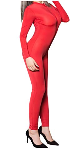 L04BABY Women Sheer Double Zipper Long Sleeve Open Red Lingerie Leotard Bodysuit (Double Long Zipper Sleeve)