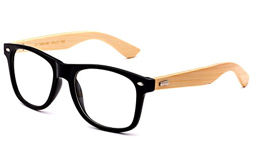 Newbee Fashion - Real Bamboo Temples Clear Frames Glasses Men Women Wooden - Prescription For Replacement Glasses Lenses